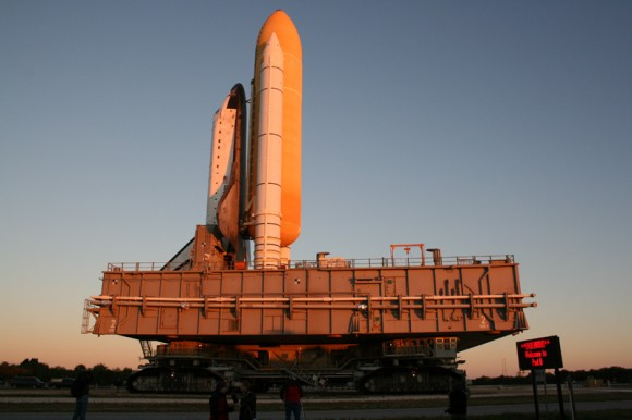 Rollout of Endeavour  atop mobile launch platform, side view. Credit: Ken Kremer