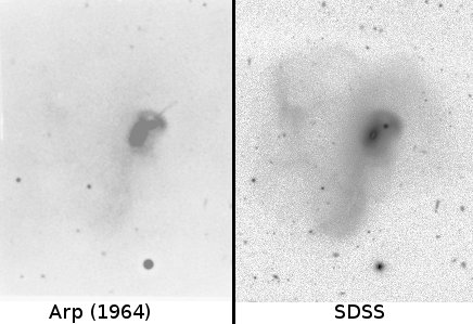 Arp 192 from his publication (left) compared to SDSS image (right). Prominent jet in upper right is present in Arp's image is missing from modern images.