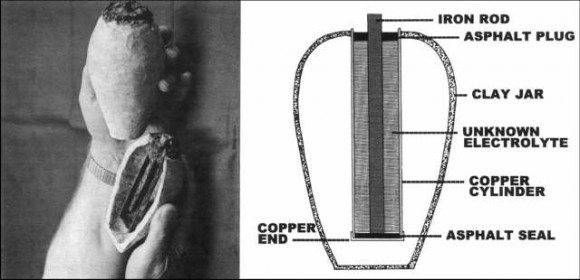 A replica and diagram of one of the ancient electric cells (batteries) found near Bagdad.