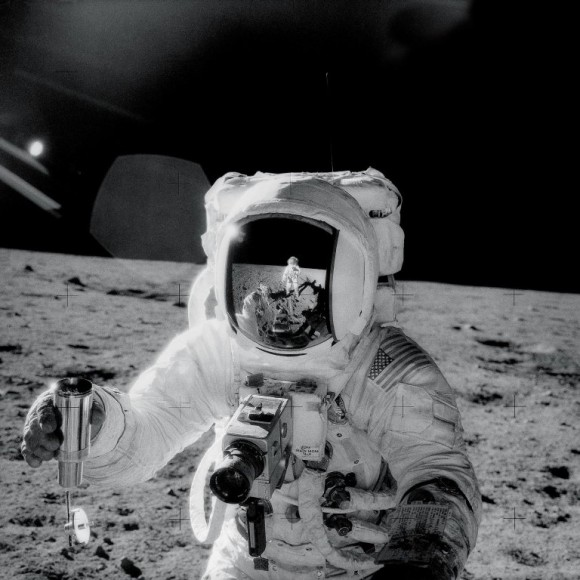 Alan Bean with Lunar Soil