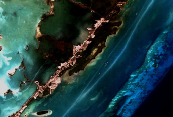 A Landsat-7 image of a coral reef near Key Largo, Florida