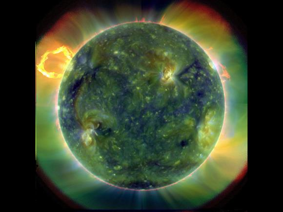 A full-disk multiwavelength extreme ultraviolet image of the sun taken by SDO on March 30, 2010. False colors trace different gas temperatures. Reds are relatively cool (about 60,000 Kelvin, or 107,540 F); blues and greens are hotter (greater than 1 million Kelvin, or 1,799,540 F). Credit: NASA