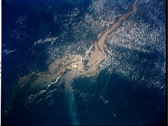 Confluence of the Amazon and Tapajos Rivers, Brazil, South America
