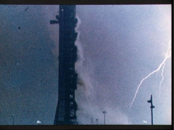 Lightning bolt during the launch of the Apollo 12 lunar landing mission