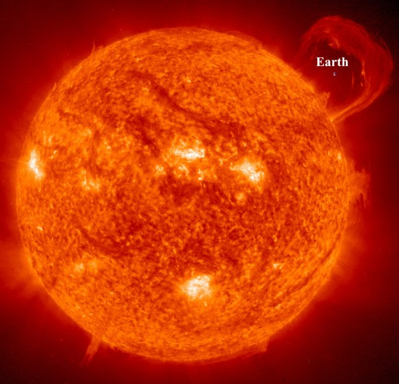 Earth Compared to the Sun. Image credit