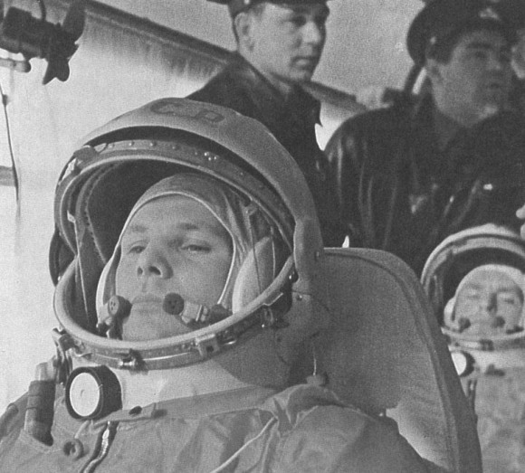 Gagarin on his way to Vostok Launch