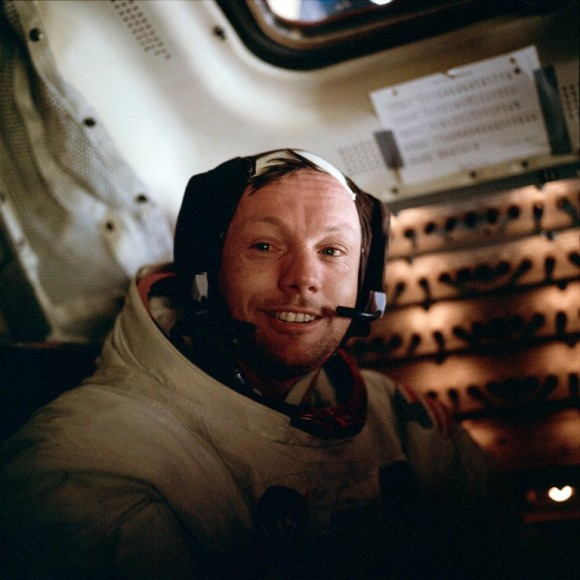 Neil A. Armstrong inside the Lunar Module after EVA