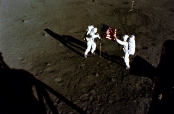 The deployment of the flag of the United States on the surface of the Moon