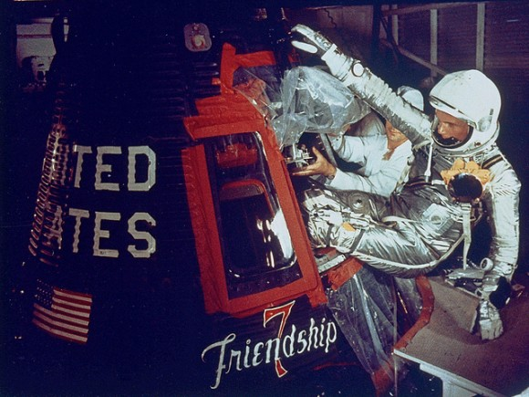 John Glenn enters his Friendship 7 spacecraft on On Feb. 20, 1962. Credit: NASA