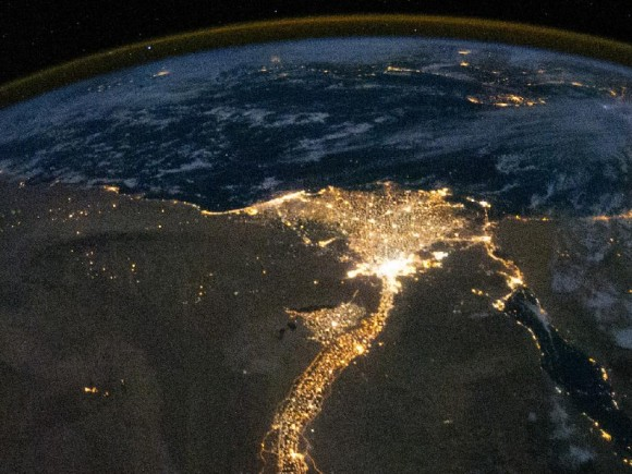 The Nile River and Delta, viewed at night by the Expedition 25 crew on Oct. 28, 2010. Credit: NASA