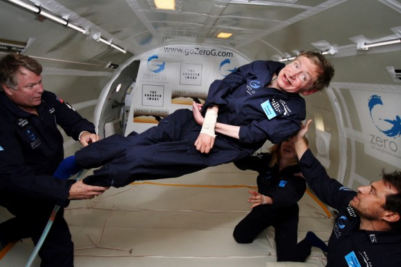 Professor Stephen Hawking during a zero-gravity flight. Image credit: Zero G.