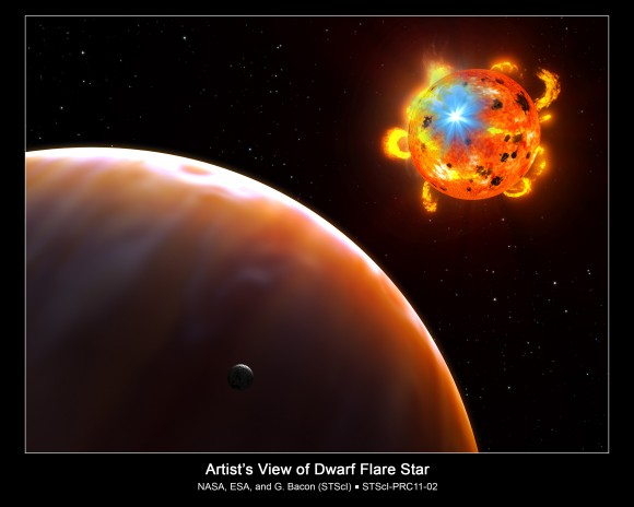 This is an artist's concept of a red dwarf star undergoing a powerful eruption, called a stellar flare. A hypothetical planet is in the foreground. Credit: NASA/ESA/G. Bacon (STScI)