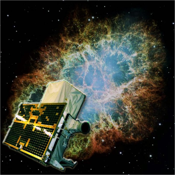 A composite illustration of the AGILE satellite and the Crab Nebula imaged by the Chandra observatory. [Image courtesy of ASI, INAF and NASA]