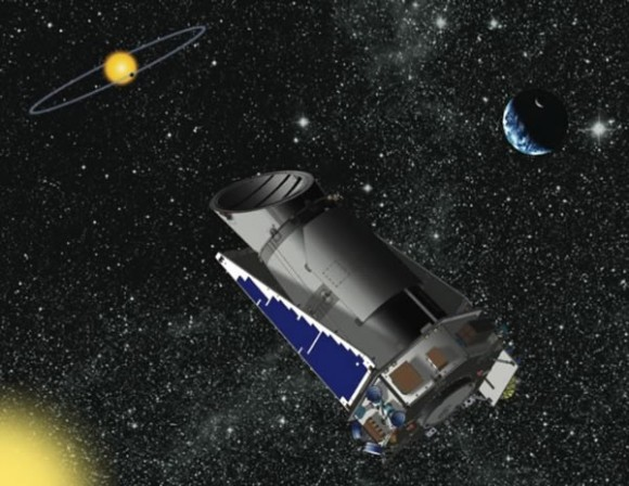 Artst concept of the Kepler telescope in orbit. Credit: NASA