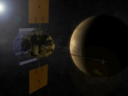 Artist's concept of MESSENGER in orbit around Mercury. Courtesy of NASA
