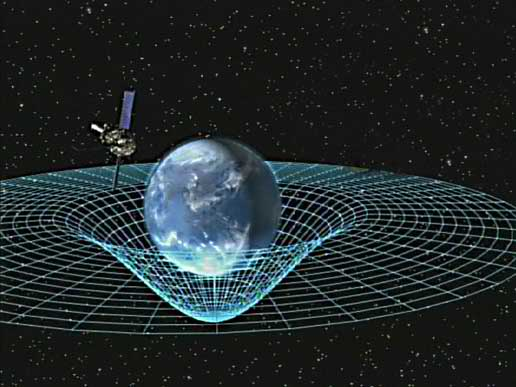 Artist concept of Gravity Probe B orbiting the Earth to measure space-time, a four-dimensional description of the universe including height, width, length, and time.  Image credit: NASA
