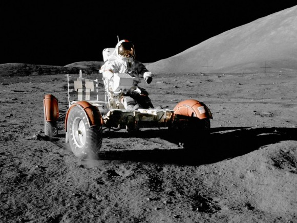Lunar and Planetary Rovers covers both the manned rovers used on the final three Apollo lunar missions with the unmanned rovers used to explore the surface of Mars - under one book. Photo Credit: NASA/Jack Schmitt