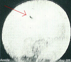 First photograph of a UFO sighting, taken 12 August 1883 by Jose Bonilla.