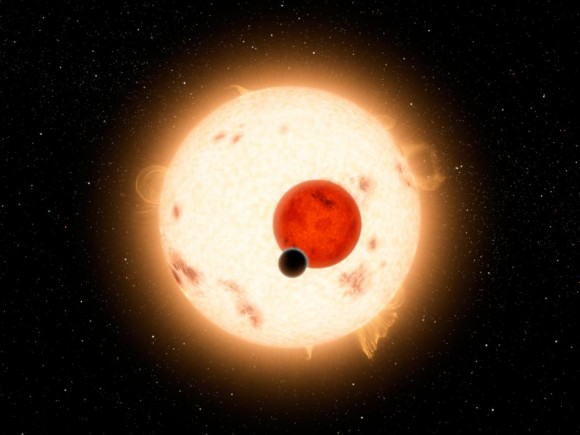 Artist's conception of the Kepler 16 system, where the planet Kepler 16-b orbits two stars, much like Tatooine from Star Wars. Credit: NASA/JPL-Caltech/R. Hurt
