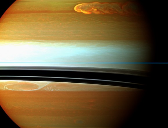 Saturn's northern storm marches through the planet's atmosphere in the top right of this false-color mosaic from NASA's Cassini spacecraft. Credit: NASA/JPL-Caltech/Space Science Institute