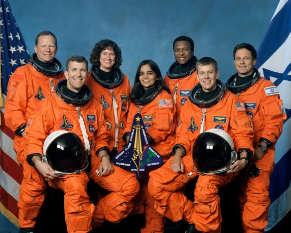 The Columbia  crew. From the left: Mission Specialist David Brown, Commander Rick Husband, Mission Specialists Laurel Clark, Kalpana Chawla and Michael Anderson, Pilot William McCool and Payload Specialist Ilan Ramon. Credit: NASA.