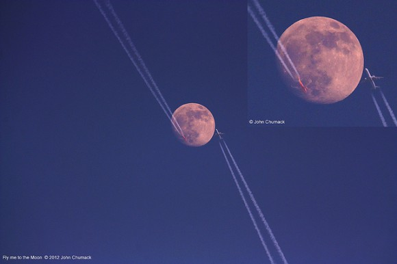 Two aircraft cross over the waxing gibbous Moon on January 6, 2012. Credit: John Chumack