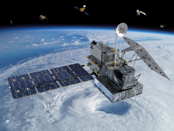 Visualization of the GPM Core Observatory and Partner Satellites. Credit: NASA