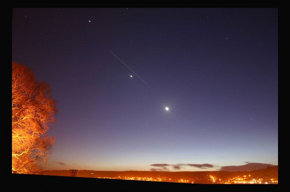 Moon, Venus, Jupiter and ISS from Kendal Castle by Stu Atkinson