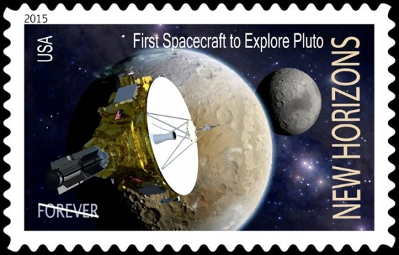 Concept art for a New Horizons postage stamp. Image Credit: Dan Durda/Southwest Research Institute