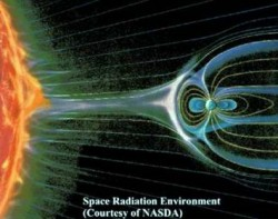 An illustration showing the natural barrier Earth gives us against solar radiation. Credit: NASA.
