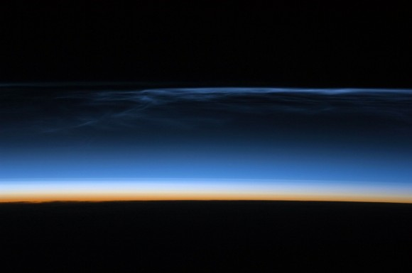 Noctilucent clouds taken from the ISS  Image Credit: NASA