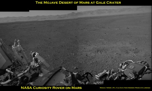 Curiosity Mojave Desert Pano BW b_Ken Kremer