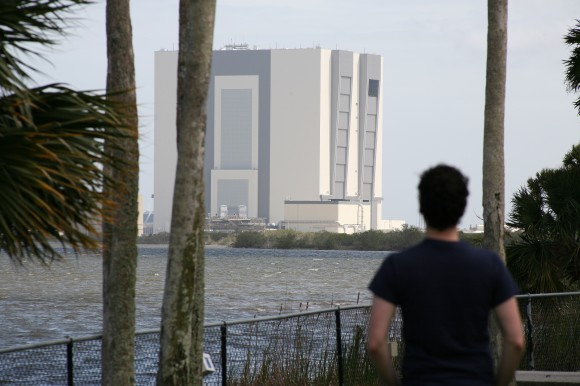 Matthew Cimone and the Vehicle Assembly Building. (Supplied photo)