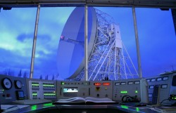 The original Jodrell Bank Control Desk with view of the Lovell telescope. Credit: Anth