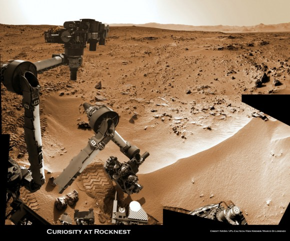 Mars rover Scooping in Search of Pristine material at Rocknest