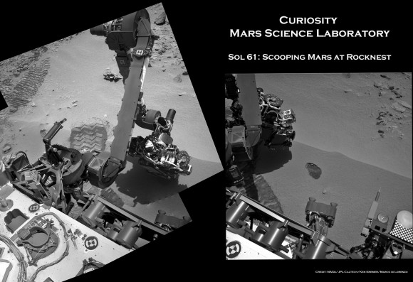 Curiosity Sol 61 Rocknest Scoop_Da_Ken Kremer