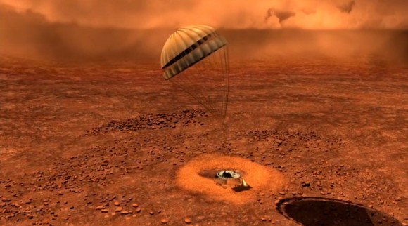 Artist depiction of Huygens landing on Titan. Credit: ESA