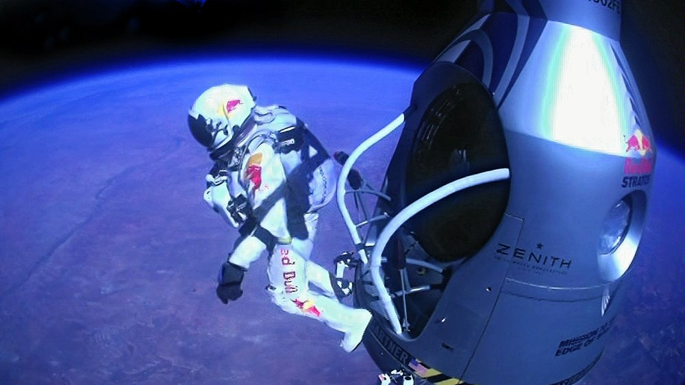 Felix Baumgartner making his historic jump