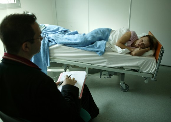 Bedrest volunteer in bed during a study conducted in 2005. Credit ESA