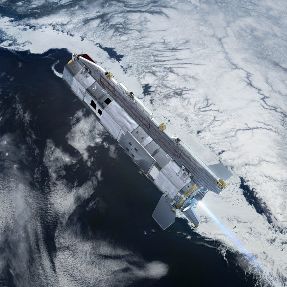 GOCE over ice. Credits: ESA - AOES Medialab