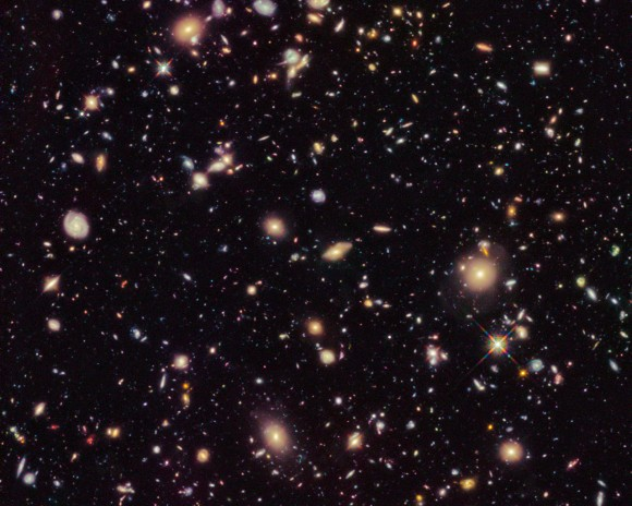 This image shows the Hubble Ultra Deep Field 2012, an improved version of the Hubble Ultra Deep Field image featuring additional observation time. The new data have revealed for the first time a population of distant galaxies at redshifts between 9 and 12, including the most distant object observed to date. These galaxies will require confirmation using spectroscopy by the forthcoming NASA/ESA/CSA James Webb Space Telescope before they are considered to be fully confirmed.