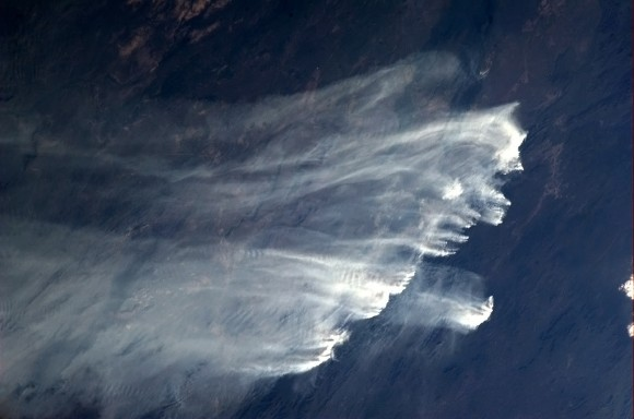 A long line of bush fires range in Australia, and are visible from space. Credit: NASA/Chris Hadfield
