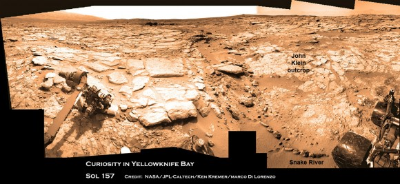 Curiosity &amp; Yellowknife Bay Sol 157_4Ca_Ken Kremer