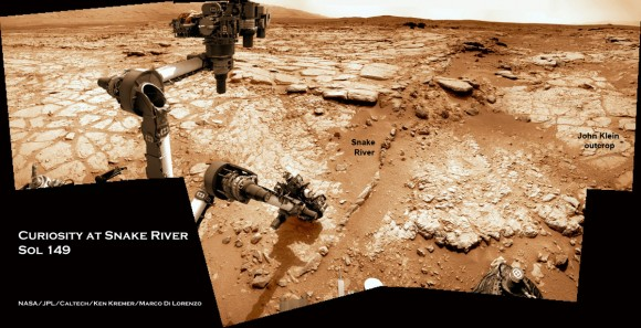Curiosity at Snake River Sol 149_5Aa_drill target_Ken Kremer
