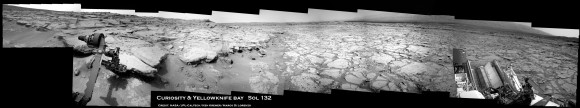 Curiosity touches Yellowknife Bay Sol 132_3c_Ken Kremer