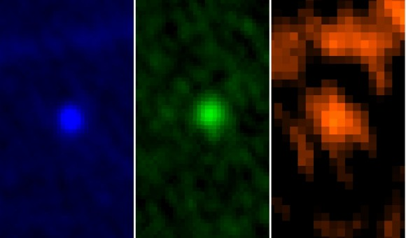 ESA's Herschel Space Observatory captured asteroid Apophis in its field of view during the approach to Earth on 5/6 January 2013. This image shows the asteroid in Herschel's three PACS wavelengths: 70, 100 and 160 microns, respectively. Credit: ESA/Herschel/PACS/MACH-11/MPE/B.Altieri (ESAC) and C. Kiss (Konkoly Observatory)