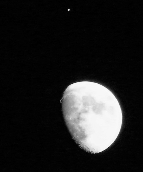Jupiter-Moon Conjunction, Jan 21, 2013 from San Diego, California. Shot with a Fuji Finepix 2000hd. Credit and copyright: Bob Gould.