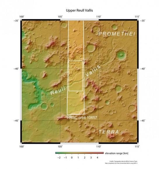 Reull Vallis in context. Credit: NASA MGS MOLA Science Team.