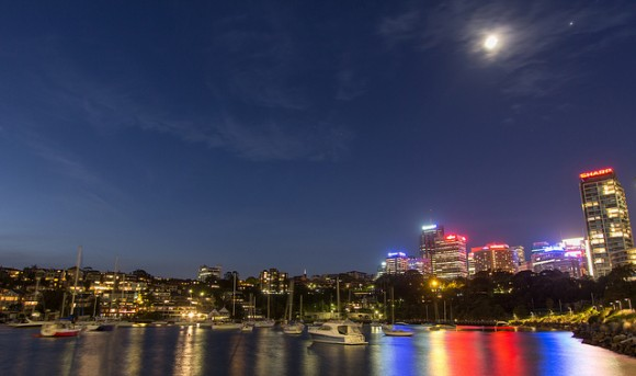 Reflections over Lavender Bay, Sydney Australia, Jupiter and Moon conjunction. 'By this point I had to leave the bay area but one last look back and I saw this frame, so I tried my best to capture it whilst the timer on my parking ticket was quickly running out.' Credit and copyright: Carlos Orue (ourkind on Flickr.)
