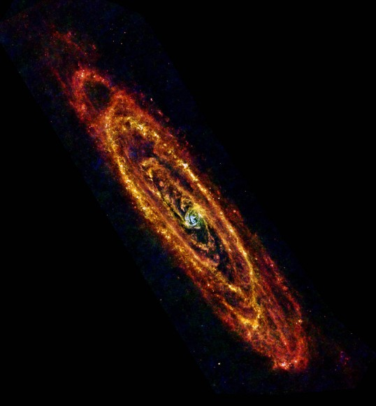 In this new view of the Andromeda galaxy from the Herschel space observatory, cool lanes of forming stars are revealed in the finest detail yet.